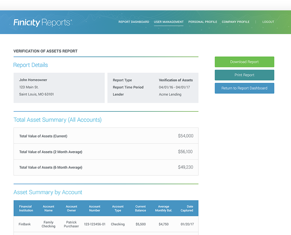 FinicityReports - financial account verification
